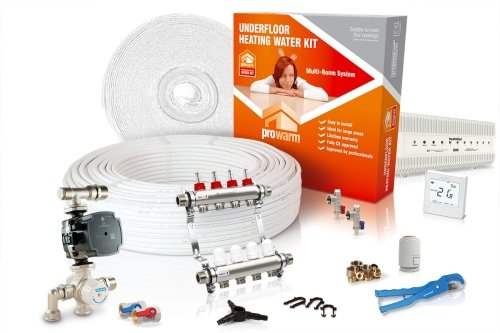 ProWarm Water Multiple Room Kit 4 Circuit 80m2 Neo White Thermostat With Hub Kit