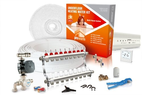 ProWarm Water Multiple Room Kit 9 Circuit 180m2 Neo White Thermostat With Hub Kit