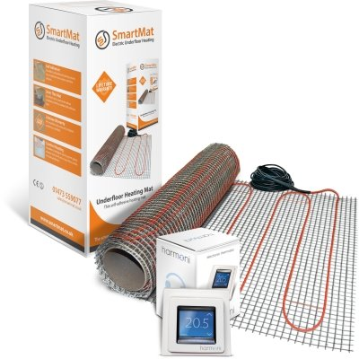 SmartMat 200w/m2 5.0m2 1000w Underfloor Heating Kit + Harmoni 50 Thermostat