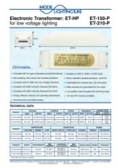 Mirror Demister Pad Transformer 50-255VA Technical Datasheet