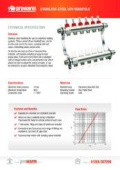 Prowarm Manifold Data Sheet