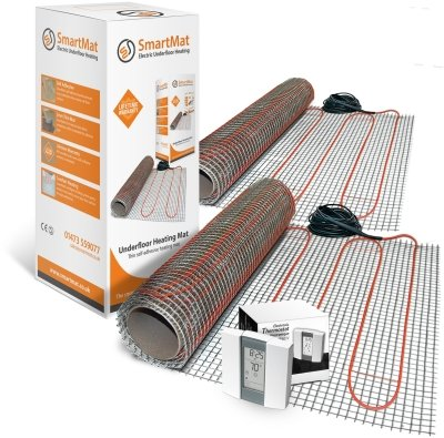 SmartMat 100w/m2 15.0m2 1500w Underfloor Heating Kit + Aube TH232 Thermostat