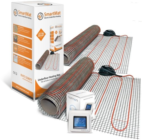 SmartMat 200w/m2 13.0m2 2600w Underfloor Heating Kit + DEVIreg Touch Programmable Thermostat (Pure White)