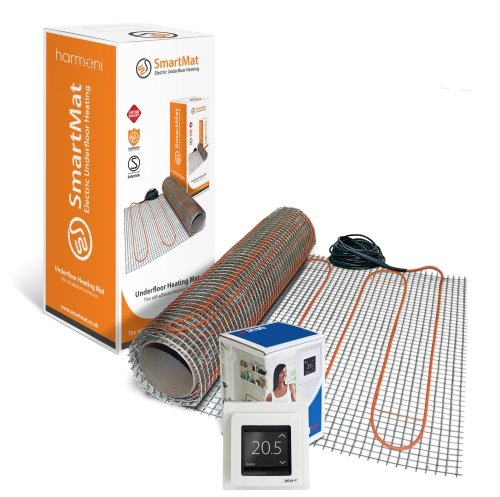 SmartMat 150w/m2 10.0m2 1500w Underfloor Heating Kit + DEVIreg Touch Programmable Thermostat (Pure White)